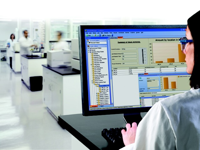 Woman in lab with monitor